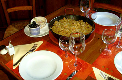 Migas (pan-fried with ham)